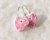 Pink Heart Porcelain Earrings-Valentine's Day-Handcrafted Porcelain Heart Earrings-Gift for Valentine-Dainty Pink Heart-Pink Ceramic Hearts