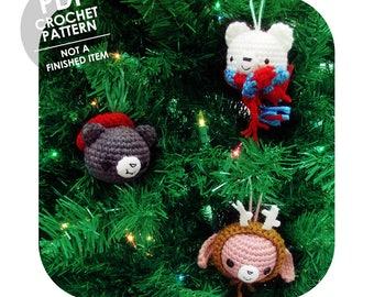 crochet pattern - crochet christmas ornaments - bunny bear cat - amigurumi christmas ornaments - kawaii animals