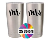 Yeti Decal Mr and Mrs Decals His Her Tumbler Rambler RTIC, Ozark Acrylic Cup Couple Gift DIY Wedding Gift Choose From 25 Colors