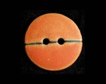 Handmade Ceramic Buttons: Matte Orange with Saori Flair