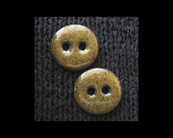 "Set of 2 Handmade Ceramic Buttons: 1"" Speckled Olive on Black Basaltic Stoneware"