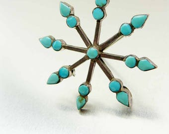 1960s Sterling & Turquoise Petit 8 Point Vintage Pendant Brooch Pin Native American Folk Art Jewelry