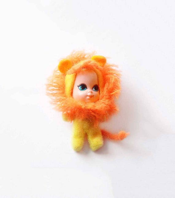 Lucky Lion Animiddle Kiddles 3635 Little Kiddles Doll Mattel Vintage 1960s Safety Pin Orange Hair Tail Green Eyes Yellow Lion Suit