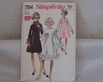 SEWING PATTERN: Simplicity Dress Pattern 7914; circa 1968.