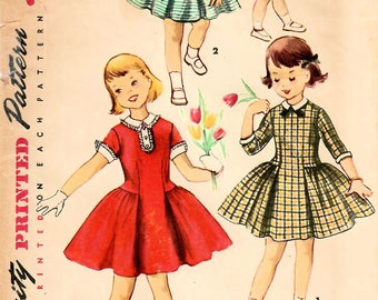 1950s Simplicity 1499 Vintage Sewing Pattern Girls Drop Waist Party Dress, Full Skirt Party Dress Size 6