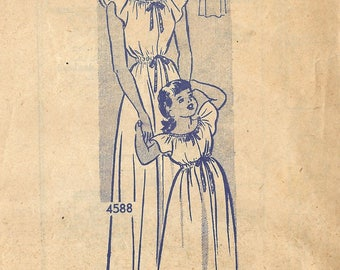 1940s Anne Adams 4588 FF Vintage Sewing Pattern Misses Nightgown, Girls Nightgown, Mother Daughter Nightgowns Size Medium