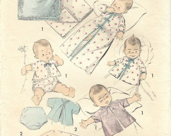 1950s Advance 8218 Vintage Sewing Pattern Infant's Layette, Infant Wardrobe, Crib Sheets  One Size