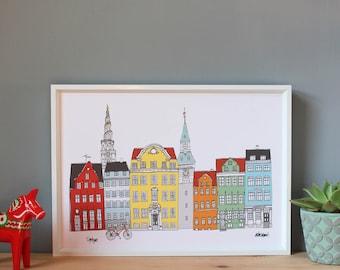 Copenhagen Cityscape Print A4 - Copenhagen Skyline Print - Wedding Gift - Scandinavian Print - Hygge Print