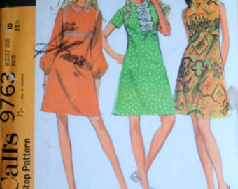 Vintage 60's Sewing Pattern, McCall's 9763, Misses' Empire Waist Dress, Size 10, 32 1/2 Bust, Uncut FF, Retro Mod 1960's Women's Fashion