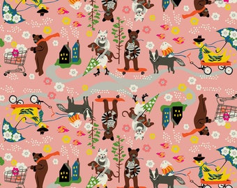 Car Pool Carpool Pink - Caravan - Elizabeth Grubaugh - Blend Fabric 100% Quilters Cotton 126.102.01.1