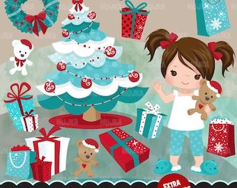 Christmas Clipart. Christmas morning, gift bags, Christmas tree, wreath graphics, teddy bear, santa, decorations, scrapbook, planner art