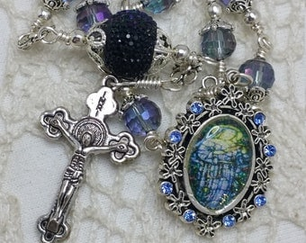 St Benedict Medal,  Ultraviolet faceted Crystal, St Rita rosary, Embellished rosary,  Car Rosary, Unbreakable Heirloom Pocket Rosary,