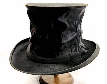 Antique French Silk Satin Collapsible Top Hat FRANCE 1910s 1920s Black Beaver Gentlemens Opera Hat Steampunk Vintage Hat Gothic CHAPELLERIE