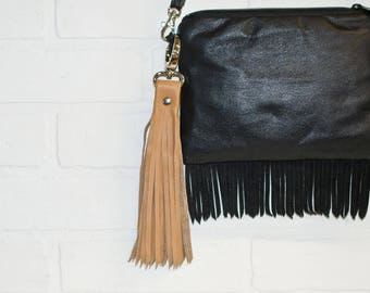 """10"""", tan tassel, leather tassel, recycled leather, leather bag charm, leather fringe, leather keychain, upcycled, wholesale, stacylynnc"""