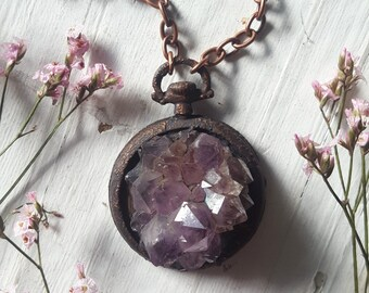 Spirit Quartz Necklace - Purple Spirit Quartz Pendant - Pocket Watch Spirit Quartz - Steampunk Spirit Quartz - Purple Spirit Quartz - Kinnyx