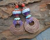 Tribal Copper and Lampwork Earrings