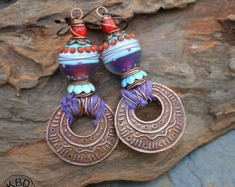 Tribal Copper and Lampwork Earrings