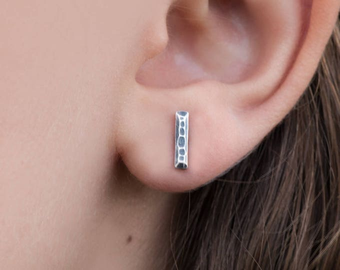 Hammered Bar Stud Earrings- Antique Finish