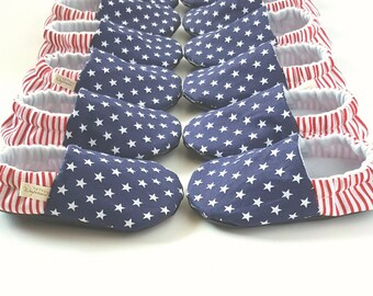 Stars and Stripes Baby Moccs / Baby Shoes / First Fourth of July /Baby Moccasins / Soft Soled Baby Shoes / Vegan Baby Shoes / Vegan Moccs