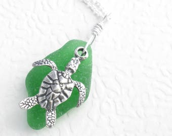 Silver Sea Turtle Necklace, Ocean Animal Jewelry, Green Sea Glass Pendant