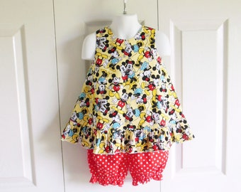 Ruffled Bow Back Swing Back Pinafore Top Bloomers Set baby or toddler - 3 mos to size 6 - Mickey and Minnie Together - Disney collection