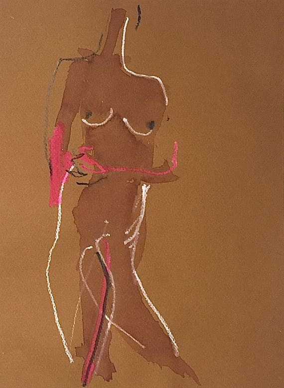 Nude painting of One minute pose 110.2 - Original watercolor painting by Gretchen Kelly