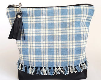 UPCYCLED Plaid Clutch. Fall Bag. Grunge. Fringe. Plaid Bag. Leather Clutch. Black Leather. Recycled Leather. Tassel. Ready To Ship.