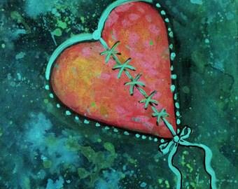 Heart Strings Original Acrylic Painting One of a Kind carolsuzannestudio