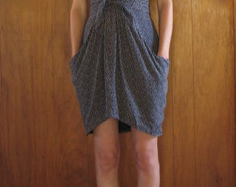 SILK POLKA DOT navy blue dress, small