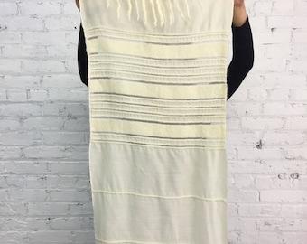 vintage cream wool fringe scarf / natural striped table runner / 70s minimalist oversize scarf