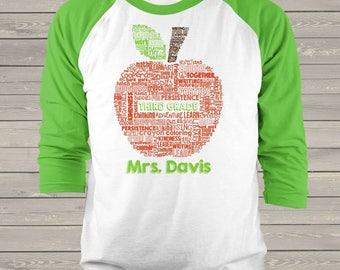 Teacher apple word collage name grade personalized raglan shirt for teachers  MSCL-045-R