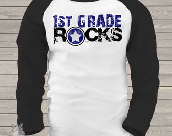 Back to school STUDENT shirt - first grade or any grade rocks back to school raglan shirt  mscl-078-r-fst