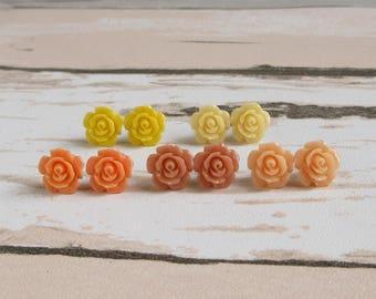Dainty Rose Stud Earrings, Coral Peach, Lemon Yellow, Honey Rose, Orange Tone, Flower Summer Earrings
