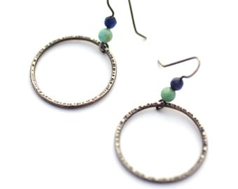 Textured Sterling Silver Circle Earrings with Apatite and Amazonite Beads, Hammered Silver Earrings, Lightweight Earrings, Everyday Earrings