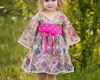 Sweet Romance - Boho Berry - Pink Dress - Little Girls Dress - Country Flower Girl - Garden Wedding - Preteen Dress  - 12 mos to 14 yrs