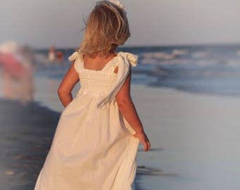 Beach Flower Girl Dress - Toddler Maxi Dress - White Flower Girl Dress - Confirmation Dress - Rustic Flower Girl Dress -  12 mos to 8 yrs