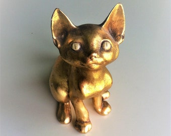 Anthony Freeman McFarlin Gold Leaf Cat Figure  #124 , Vintage 1970s Pottery , Retro Cat Statue
