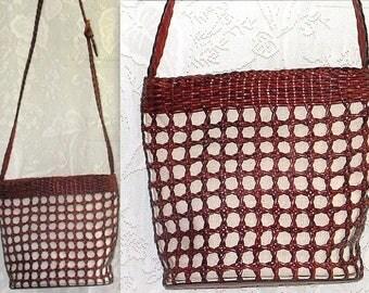 Vintage Handbag - Talbots Woven Leather Bag - Canvas Lined  Purse - Shoulder Sling Adjustable Strap