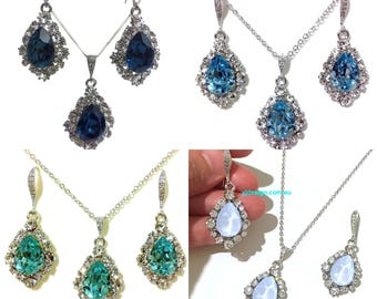 Something Blue Bridal Jewelry, Drop Bridal Earrings, Teardrop Bridal Necklace, Swarovski Wedding Earrings, Crystal Wedding Necklace, BIJOUX