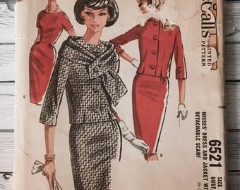 Mccalls 6521 Vintage Dress Jacket 1960s Mad Men Sewing Pattern Misses Size 16 Bust 36