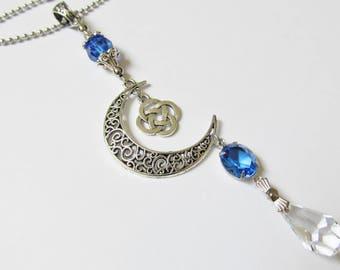 Rearview Mirror Car Charm Celtic Moon Car Accessories For Women Suncatcher Crystal Car Ornament
