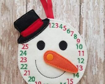 Snowman Christmas Count Down, Snowman, Christmas, Felt Snowman, Learning Counting, Advent Calendar, Winter Snowman,