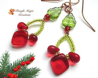 Christmas Earrings, Red Green Holiday Jewelry, Long Boho Dangles, Copper Earwire, Holly & Ivy Celtic Theme, Beaded Shoulder Dusters E406A