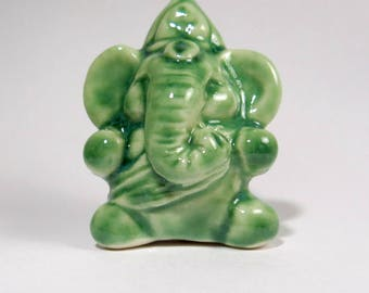 Ganesh Statue Miniature Folk Art Ceramic Figurine Ganesha Green Spiritual Gift MADE TO ORDER