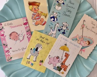 6 Vintage Baby Cards, 1950s-1960s Retro Baby Announcements, Shower, and Thank You Cards, Midcentury Baby Cards