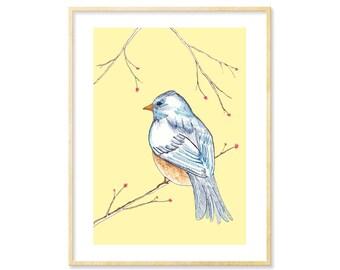 Bird Print, Nursery Decor, Woodland Decor, Adorable Wall Art, Woodland Nursery, Whimsical Art, Bluebird, Bird Lover, Yellow Decor, 8.5x11