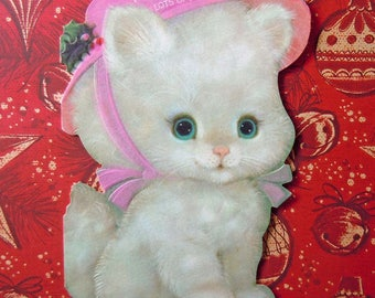Vintage Die Cut Christmas Greeting Card White Kitten with Pink Hat Hallmark