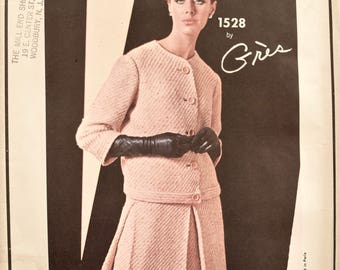 Gres Vogue Paris Original 1528 Sewing Pattern 1960s Vintage French Couture Boxy Jacket Inverted Pleat Skirt UNCUT FF with Label Size 10