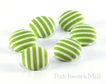 Fabric Button, Green and White Stripes, 6 Fabric Covered Buttons, Stripes Are The New Polka Dots, Handmade Button, Sewing Clothing Knitting