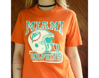 MIAMI DOLPHINS Thin Ultra Soft T Shirt - Vintage 80s - Xs/S